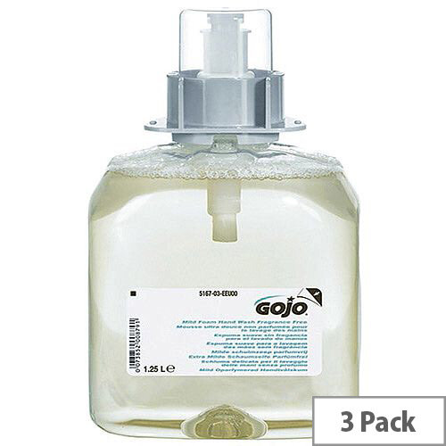 Gojo Mild Fragrance Free Foaming Hand Wash Refill 1250ml for FMX Dispenser (Pack 3) 5167-03-EEU