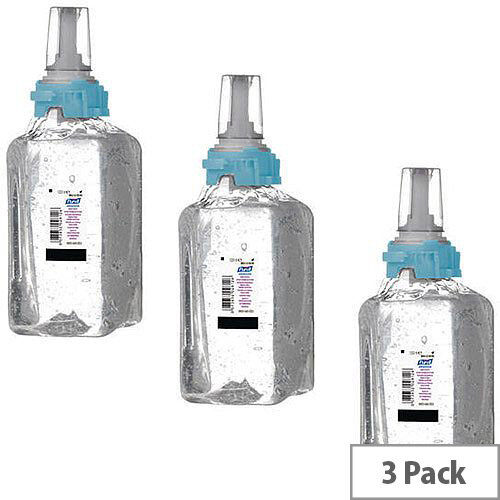 Gojo Purell Advanced Hand Sanitiser Hand Rub Gel Refill Cartridge ADX-12 1200ml (Pack of 3) 8803-03-EEU