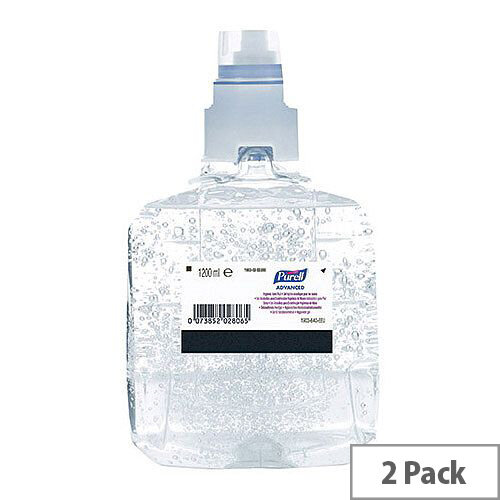 Purell Advanced Hand Sanitiser Hand Rub Gel Refills LTX-12 1200ml (Pack 2)