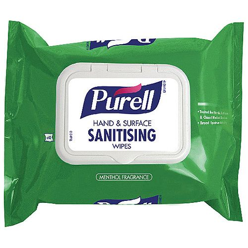 Purell Hand &Surface Sanitising Wipes Pouch Pack 1 (Contains 40 Wipes) 92002-40-EEU