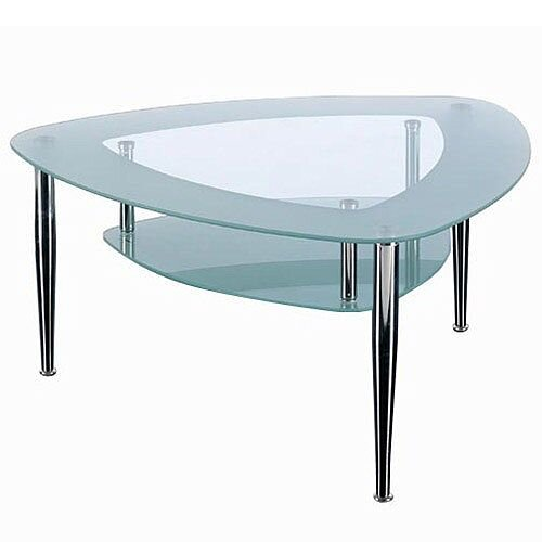 Triangular Shaped Two Tier Glass &Chrome Coffee Table