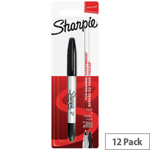 Sharpie Permanent Markers Twin Tip Blister Black Pack of 12 S0811140