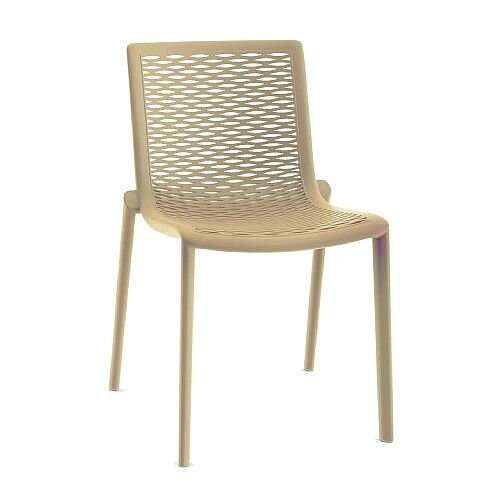 Katie Outdoor Stacking Side Chair Sand Brown