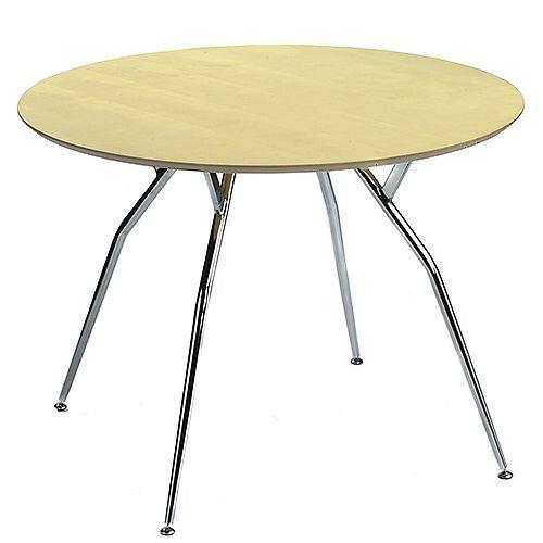 Mile Large Round Table 1000mm Diameter Maple Top &Chrome Legs