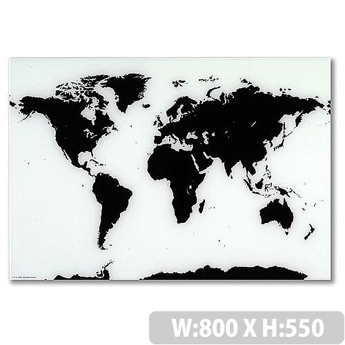 Franken Glass Magnetic Board World Map 550 x 800mm White &Black GTKW5580