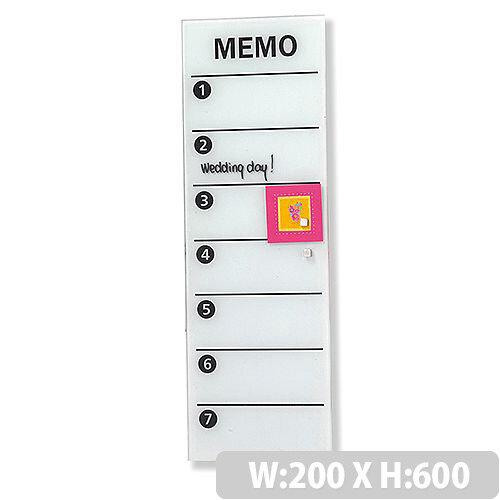 Franken Glass Magnetic Memo Board 200x600mm White GTM206009