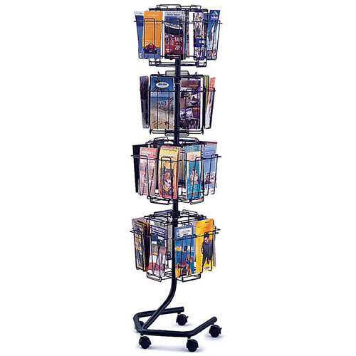 Safco Rotating Mobile Floor-Standing Wire Brochure Display Unit 32 Compartment DL Charcoal 4128CH