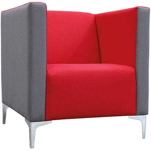 Frovi HUDDLE LOW Single Seater Sofa With Chrome Feet H790xW750xD760mm 440mm Seat Height - Fabric Band C