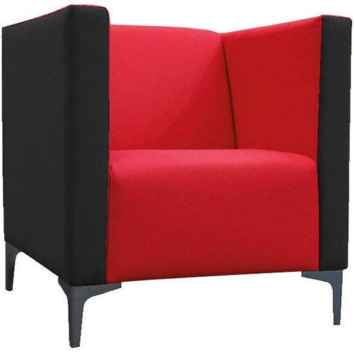 Frovi HUDDLE LOW Single Seater Sofa With Black Feet H790xW750xD760mm 440mm Seat Height - Fabric Band B