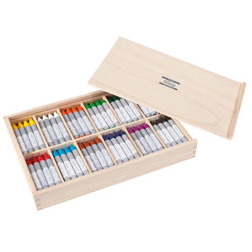 Waxy Crayons - 144 Crayons (12 x 12 Assorted Colours) In Wooden Box - Ideal for Classrooms