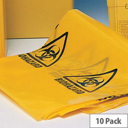 """Bio Hazard Yellow Clinical Waste Bags (Printed) 15"""" x 28"""" x 39"""" Roll of 25"""