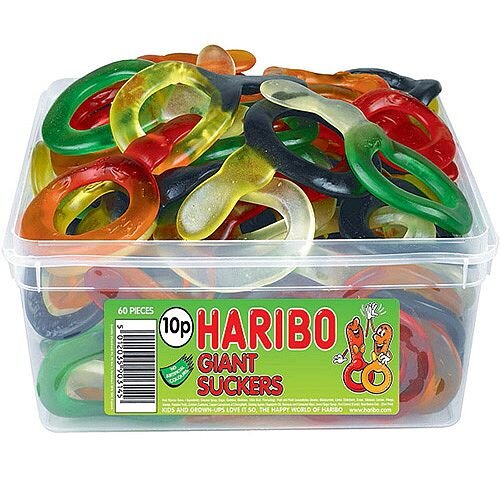 Haribo Giant Suckers Tub Jelly Sweets (Pack of 1) 13544