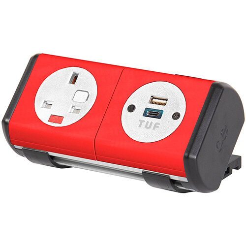 Hubble Clip-on Power Module 1 x UK Socket, 1 x TUF (A& connectors) USB Charger - orange