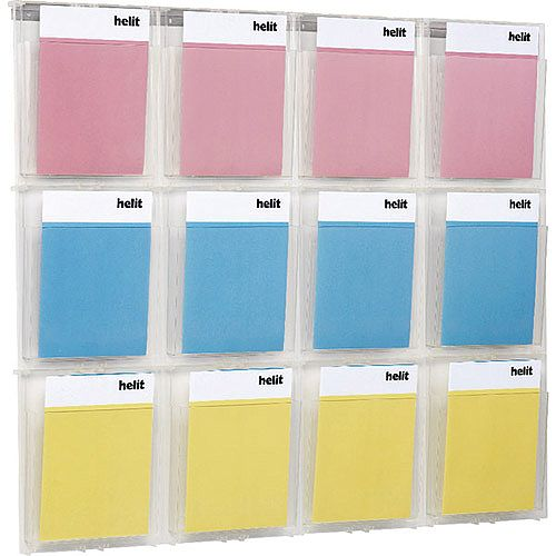 Helit Wall Display 12xA4 Pockets Clear