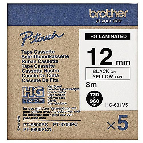 Brother HG631V5 Laminated Tape Black on Yellow Roll 1.2 cm x 8 m 5 roll s