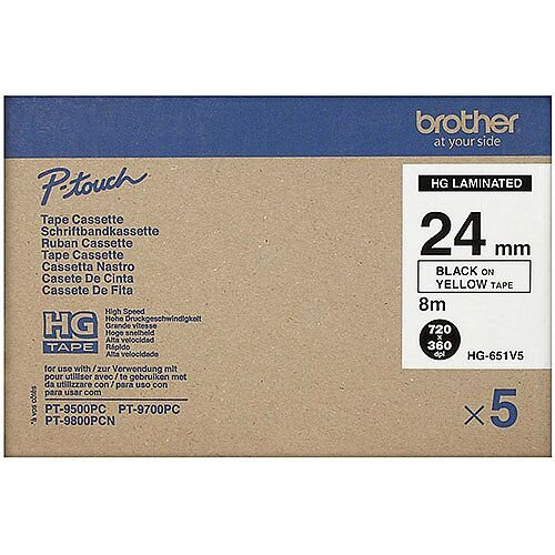 Brother PT-9800PCN Labeller HG651V5 High Grade Label Tape Multipack Black On Yellow Pack 5
