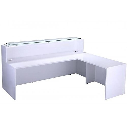 White High Gloss Reception Unit 2200mm Length with Side Return For Additional Workspace &Storage