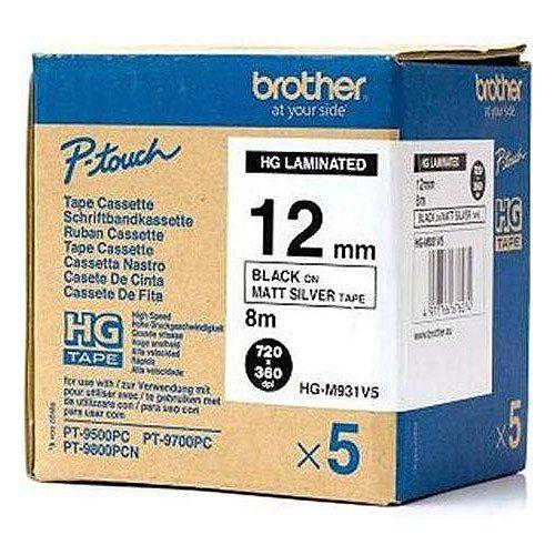 Brother HGM931V5 High Grade Tape Black on Matte Silver 12mm 5 Pack