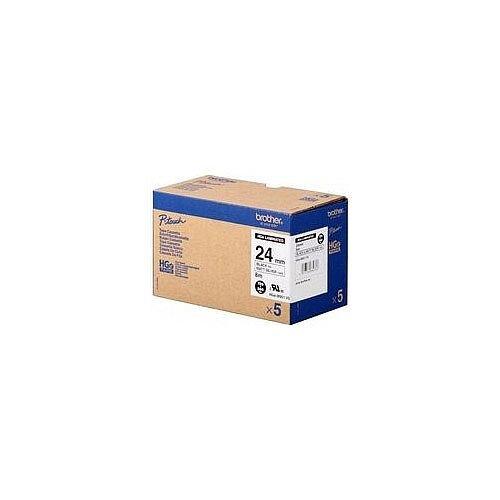 Brother PT-9700PC Labeller HGM951V5 High Grade Label Tape Multipack Black on Silver Pack 5