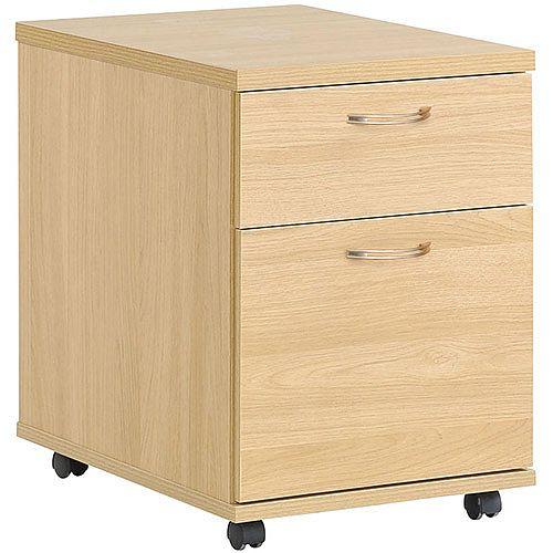 2 Drawer Mobile Pedestal Blonde Oak HOP2O