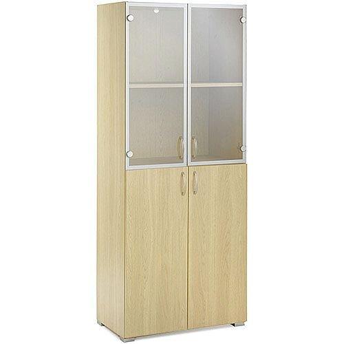 Tall Cupboard With Top Glazed Doors &Low Wooden Doors HOTCOMO Blonde Oak