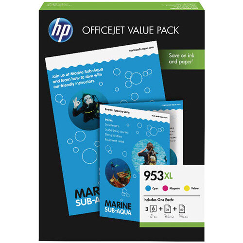 HP 953XL CMY Ink Cartridge Office Value Pack – Multi-Pack Includes Cyan, Magenta &Yellow, 1,600 Page Capacity Per Cartridge, Eco-Friendly, Extra Accessories &Fade and Water Resistant (1CC21AE)