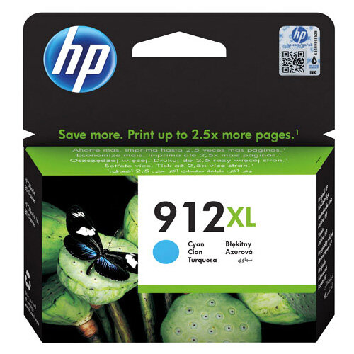 HP 912XL High Yield Ink Cartridge Cyan 9.9ml 3YL81AE