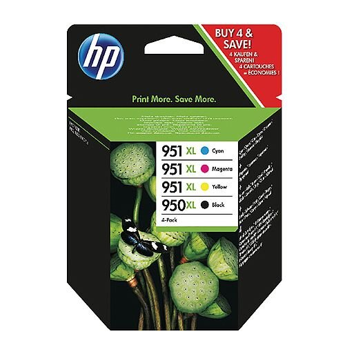 HP Original 950XL/951XL Multi-Pack High Yield Ink Cartridges (Pack 4) – Black, Cyan, Magenta and Yellow, Black 2,30 Page Yield, Cyan/Magenta/Yellow 1,500 Page Yield Each, Eco-Friendly &Works With Officejet Printers (C2P43AE)