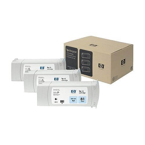 HP 81 Light Cyan DesignJet Dye Ink Tri-Pack C5070A