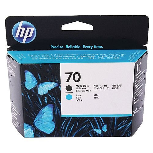 HP 70 Matte Black/Cyan Print Head Twin Pack C9404A