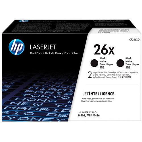 HP 26X High Yield Black LaserJet Toner Cartridge Pack of 2 CF226XD