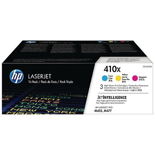 HP 410X High Yield Cyan Magenta Yellow LaserJet Toner Cartridge Pack of 3 CF252XM