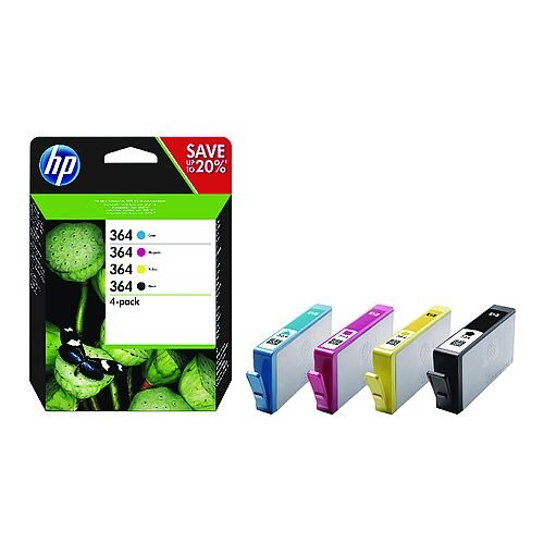 HP 364 Cyan Magenta Yellow Black Ink Cartridges Combo 4 Pack – Standard Capacity, Black: Approx 250 Page Yield, Cyan/Magenta/Yellow: Approx 250 Page Yield Each, Compatible With HP Photosmart Printers &Eco-Firendly (N9J73AE)
