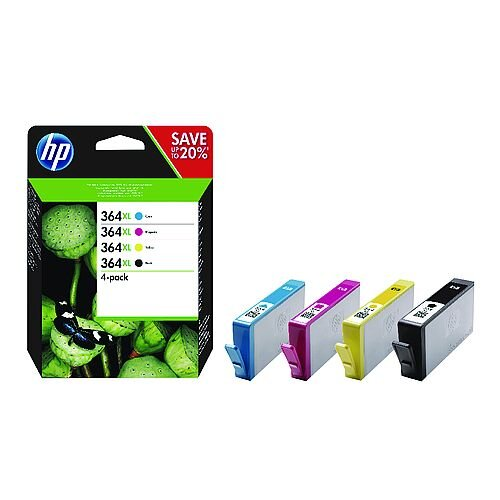 HP 364XL Cyan Magenta Yellow Black Ink Cartridges High Yield Combo 4-Pack N9J73AE