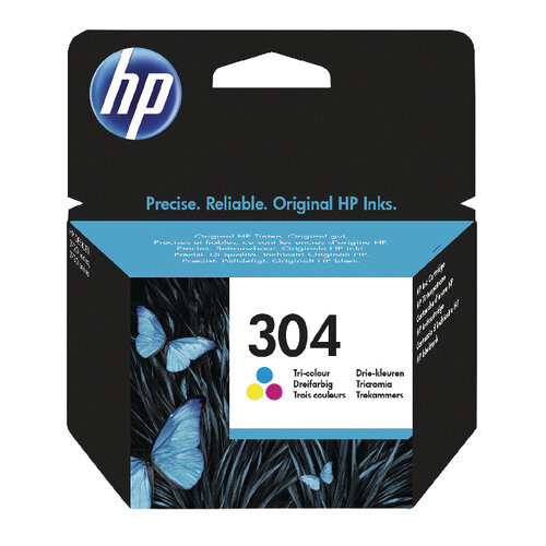 HP 304 Ink Cartridge Tricolour – Tri-Colour Includes Cyan, Magenta and Yellow, 2ml Capacity, Approx 100 Page Capacity, Eco-Friendly &fade and Water Resistant (N9K05AE)