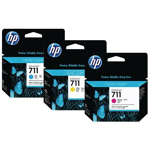 HP 711 Cyan Magenta Yellow DesignJet Ink Cartridge 80ml Pack of 3 P2V32A