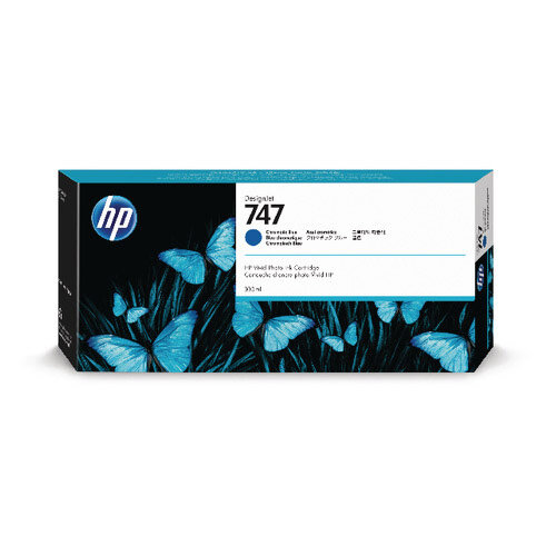 HP 747 300ml Chromatic Blue Ink Cartridge For use with DesignJet Z9+ Series P2V85A