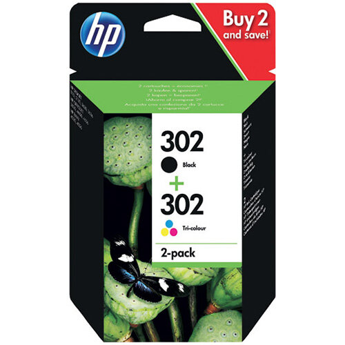HP 302 Black and Colour Ink Cartridges Pack of 2 X4D37AE