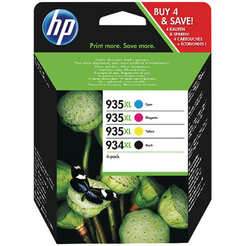 HP 934XL and 935XL High Yield CMYK Original Ink Cartridge 4 pack X4E14AE