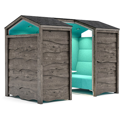 Frovi HUDDLE RUSTIC SHED 4 Seater Meeting Pod With High Back Seating H1930xW2440xD1490mm - Fabric Band B