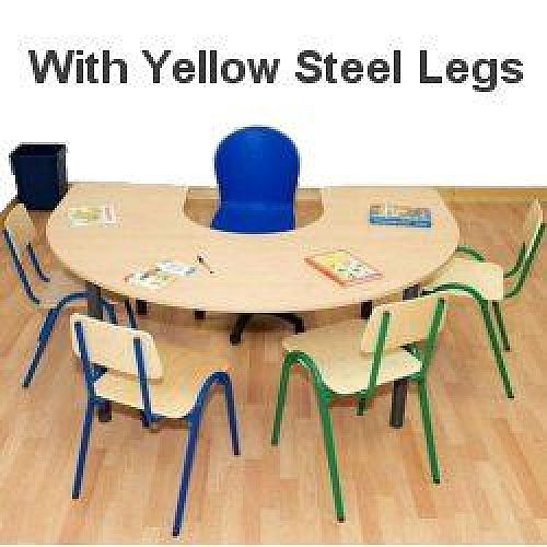 Horse Shoe Primary School Table 1200x1800x550mm Yellow