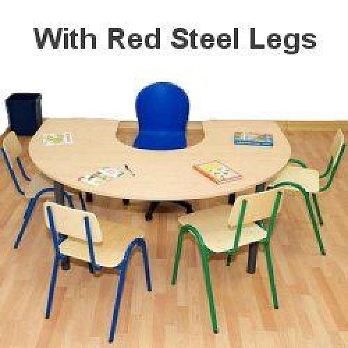 Horse Shoe Primary School Table 1200x1800x600mm Red