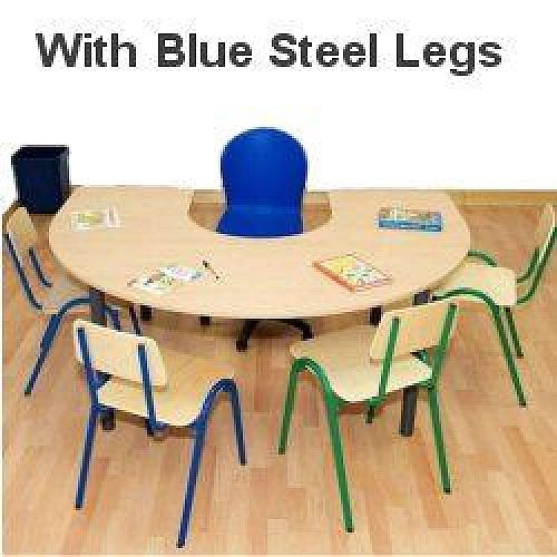 Horse Shoe Primary School Table 1200x1800x650mm Blue