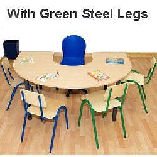 Horse Shoe Primary School Table 1200x1800x700mm Green