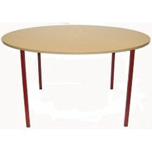 Round Primary School Classroom Table Beech/Red 1200x600mm  #PSD