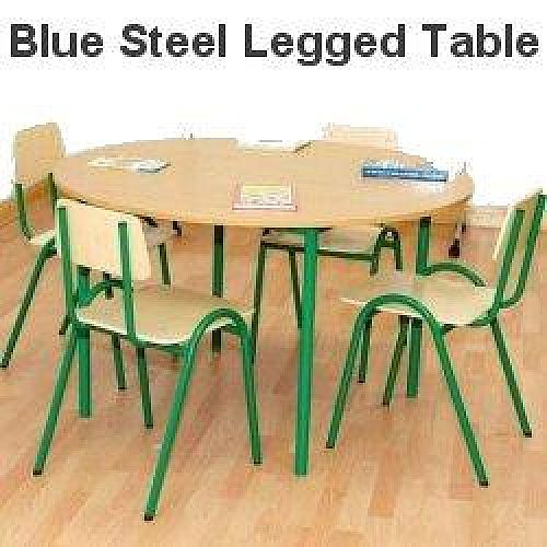 Round Primary School Classroom Table Beech/Blue 1200x650mm