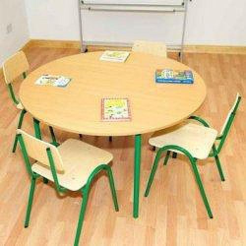 Round Primary School Classroom Table Beech/Green 1200x700mm