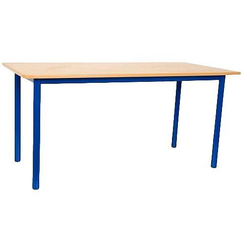 Rectangular Primary School Table Beech Blue Legs 1200x600x650mm