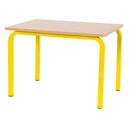 Single Student Primary School Classroom Table Beech Yellow Legs 600x600x550mm