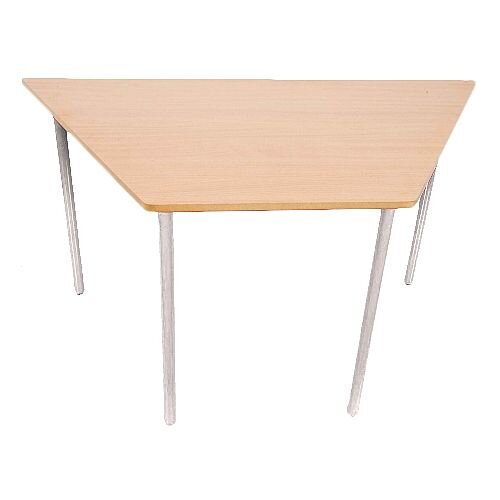 Trapezoidal Preschool Tables Beech White Frame 1200x600x600x500mm